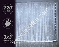 Светеща завеса 720 СТУДЕНО БЕЛИ LED 2х2м с прозрачен кабел и 8 програми