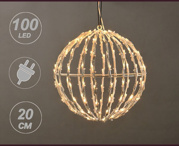 Светещо КЪЛБО 100 топло бели LED с трансформатор 20см