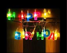 Светещ надпис  HAPPY BIRTHDAY с LED лампички и батерии