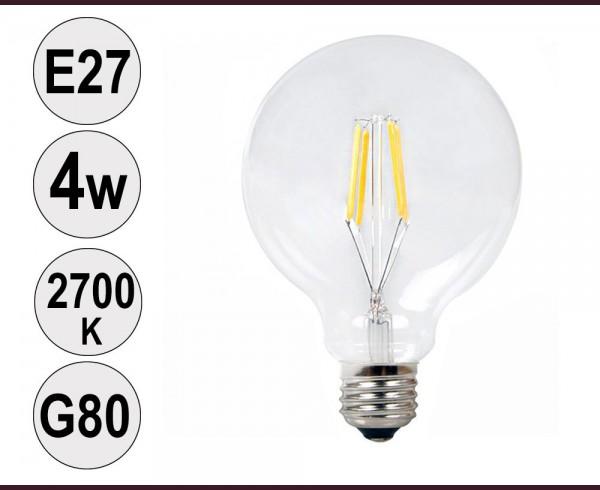 Крушка LED filament E27 4W 2700K G80