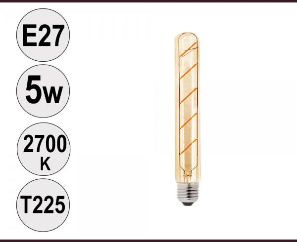 Крушка LED filament E27 5W 2700K T225 тонирана
