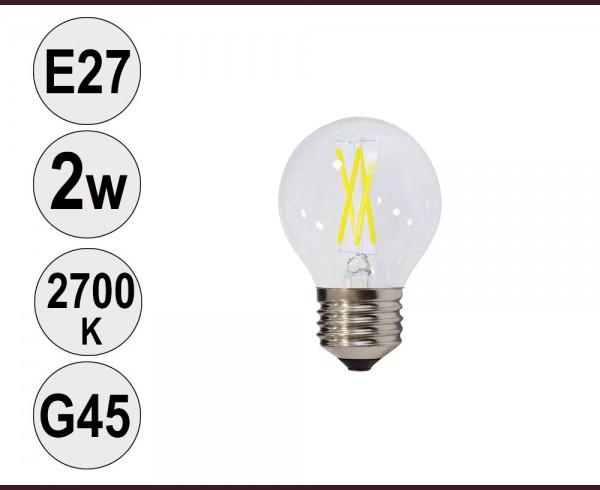 Крушка LED filament E27 2W 2700K G45