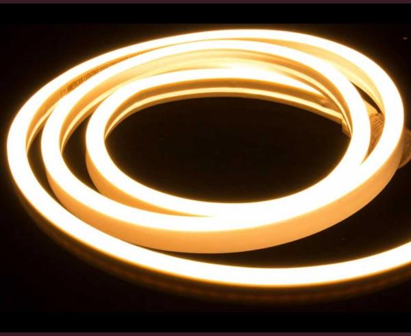 Едностранно светещ LED НЕОН гъвкав маркуч ТОПЛО БЯЛ 220V