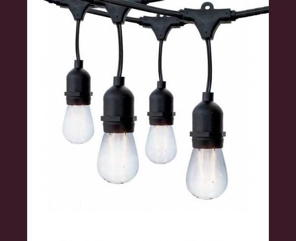 Кабел за парти лампи с 10 висящи фасунги Е27 6м ЧЕРЕН