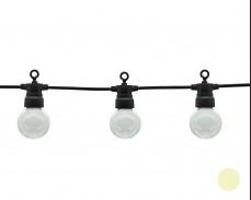 Парти лампи 10 ТОПЛО БЕЛИ led лампи 5м, черен кабел 3W