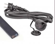 Плосък кабел за изработка на ретро гирлянд черен 10м