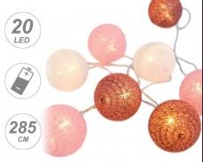 """Светещи """"Плетени розови топки"""" 20 led лампи с батерии"""