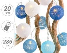 """Светещи """"Плетени сини топки"""" 20 led лампи с батерии"""