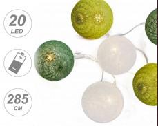 """Светещи """"Плетени зелени топки"""" 20 led лампи с батерии"""