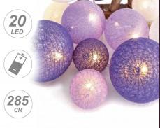 """Светещи """"Плетени виолетови топки"""" 20 led лампи с батерии"""