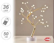 Светещо дърво ЗЛАТНИ КЛОНИ и ТОПЧЕТА с 36 топло бели LED на батерии 50cm
