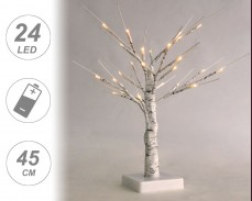 Светещо дърво БРЕЗА с 24 ТОПЛО БЕЛИ LED 45cm