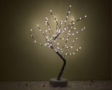 Светещо дърво СРЕБЪРНИ КЛОНИ и 90 топло бели LED на батерии 50cm