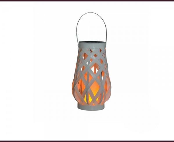 LED соларен плетен фенер с имитация на пламък IP44