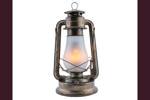Декоративен фенер газова лампа с LED и имитация на плмък