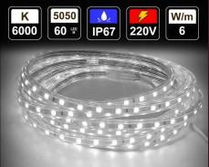 6W LED лента СТУДЕНО БЯЛО 60 5050 220V IP65 водоустойчива
