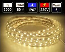 6W LED лента ТОПЛО БЯЛО 60 5050 220V IP65 водоустойчива