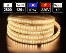 10W LED лента ТОПЛО БЯЛО 120 5730 220V IP65 водоустойчива