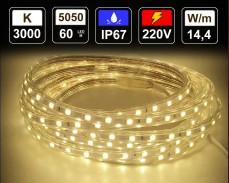 14,4W LED лента ТОПЛО БЯЛО 60 5050 220V IP65 водоустойчива