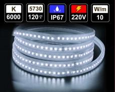 10W LED лента СТУДЕНО БЯЛО 120 5730 220V IP65 водоустойчива