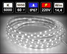 14,4W LED лента СТУДЕНО БЯЛО 60 5050 220V IP65 водоустойчива