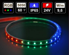 9,6W LED лента RGB 60 5050 220V IP65 водоустойчива бял гръб