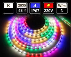 Многоцветна LED лента 10м с ефекти и контролер 220V