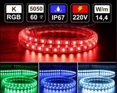 14,4W LED лента RGB 60 5050 220V IP65 водоустойчива