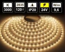 9,6W LED лента ТОПЛО БЯЛО 120 2835 24V IP20