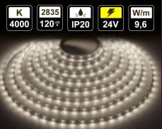 9,6W LED лента БЯЛО 4000K 120 2835 24V IP20