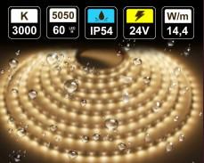 14,4W LED лента ТОПЛО БЯЛО 60 5050 24V IP54 влагоустойчива