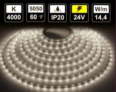 14,4W LED лента БЯЛО 4000К 60 5050 24V IP20