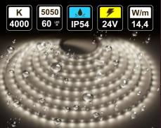 14,4W LED лента БЯЛО 4000K 60 5050 24V IP54 влагоустойчива