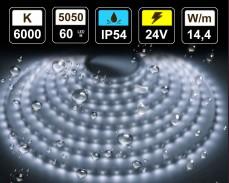 14,4W LED лента СТУДЕНО БЯЛО 60 5050 24V IP54 влагоустойчива