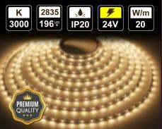 20W LED лента ТОПЛО БЯЛО 196 2835 24V IP20