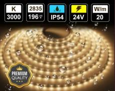 20W LED лента ТОПЛО БЯЛО 196 2835 24V IP54 влагоустойчива