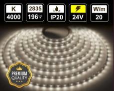 20W LED лента БЯЛО 4000К 196 2835 24V IP20