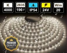 20W LED лента БЯЛО 4000K 196 2835 24V IP54 влагоустойчива