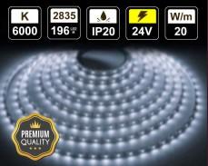 20W LED лента СТУДЕНО БЯЛО 196 2835 24V IP20