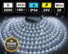 20W LED лента СТУДЕНО БЯЛО 196 2835 24V IP54 влагоустойчива
