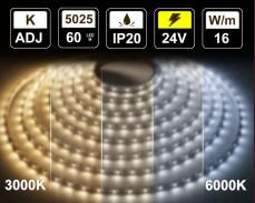 16W LED лента БЯЛО 3000-6000K 60 5025 24V IP20