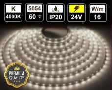 16W LED лента БЯЛО 4000K 60 5054 24V IP20