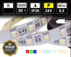 9,5W LED RGB+WW+CW лента 60 5050 12V IP20