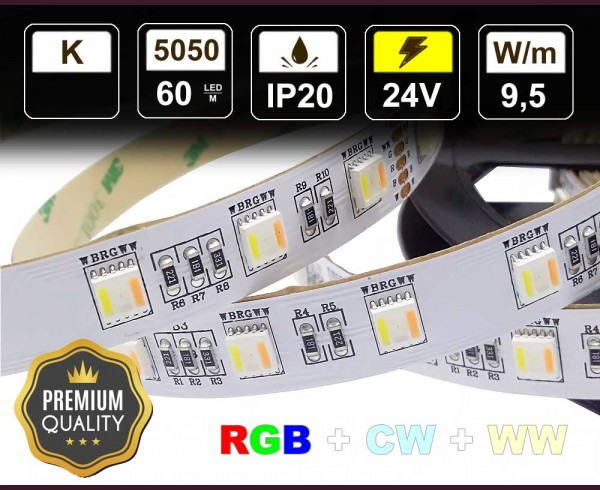 9,5W LED RGB+WW+CW лента 60 5050 12V IP20