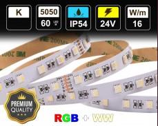 16W LED RGBWW лента 60 5050 24V IP54 влагоустойчива