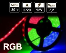 7,2W LED RGB лента 30 5050 12V IP20