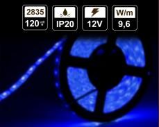 9,6W LED лента СИНЯ 120 2835 12V IP20