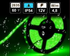 4,8W  LED лента ЗЕЛЕНА 60 2835 12V IP54 влагоустойчива