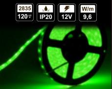 9,6W LED лента ЗЕЛЕНА 120 2835 12V IP20