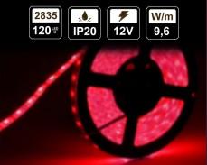 9,6W LED лента ЧЕРВЕНА 120 2835 12V IP20